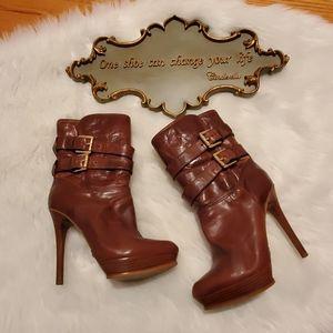 Michael Kors Women's Brown Mae Double Buckle Boot